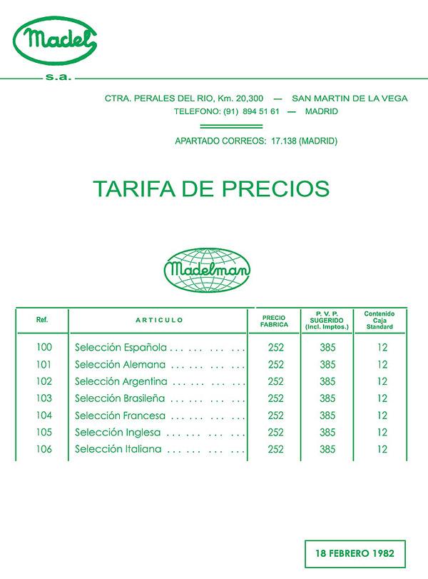 Tarifa De Precios De Productos M